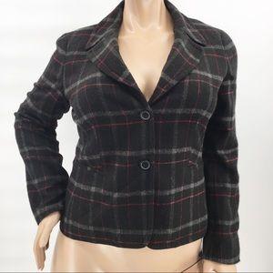 Talbots Plaid Wool Blend Plus Sz 14 Blazer